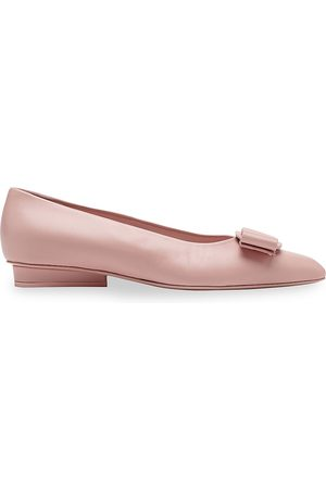 Salvatore Ferragamo Women's Viva Bow Leather Ballerina Flats - - Size 10.5