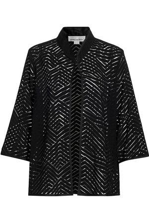 Caroline Rose Women's Shadow Chevron A-Line Jacket - - Size XS