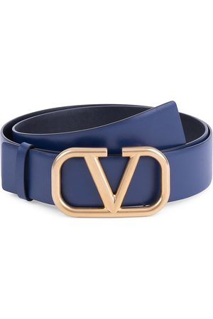 VALENTINO Men's Garavani V Logo Leather Belt - - Size 115 (46)