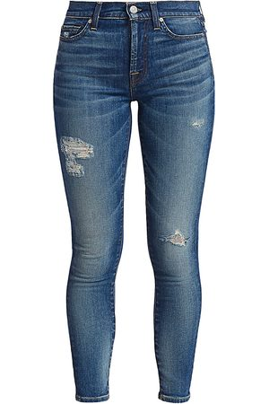 7 for all Mankind Women's High-Rise Destroyed Ankle Skinny Jeans - - Size 33 (14)