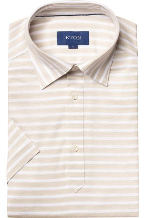 Eton Men's Striped Short-Sleeve Pique Button-Front Shirt - - Size XXL
