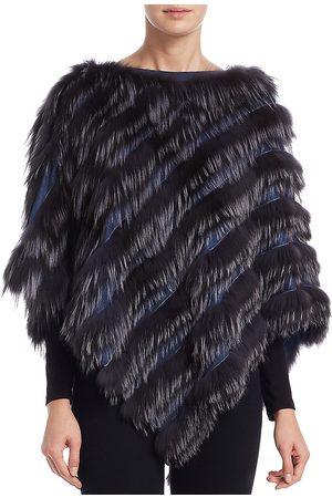 The Fur Salon Women's Fox Fur Poncho