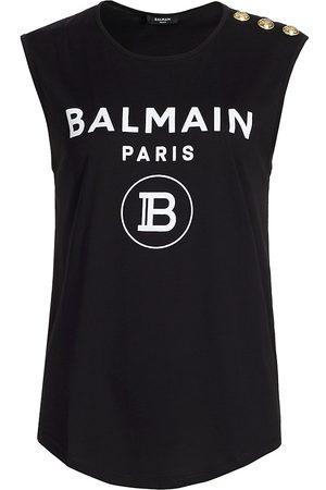 Balmain Women's Flocked Three-Button Tank Top - - Size XS