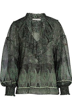 ALICE+OLIVIA Women's Julius Ruffle Blouson-Sleeve Tunic Top - - Size Medium