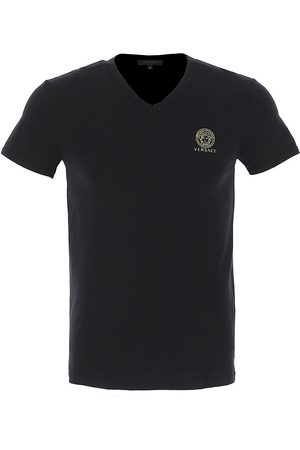 VERSACE Men's V-Neck Logo T-Shirt - - Size 6 (Large)