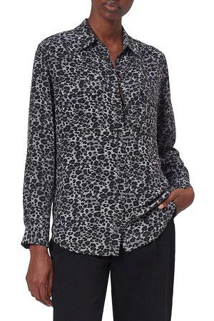 Equipment Women's Signature Leopard Silk Blouse - - Size Large