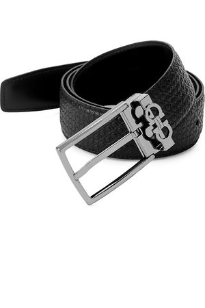 Salvatore Ferragamo Men's Gancini Reversible Embossed/Smooth Leather Belt - - Size 46