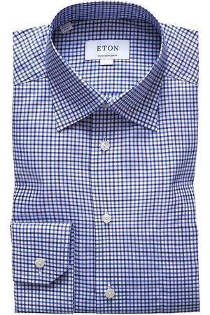 Eton Men's Contemporary-Fit Tattersall Check Shirt - - Size 18