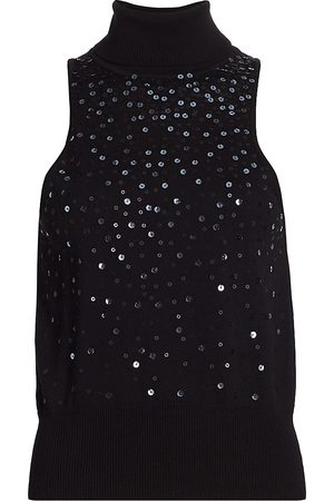 Cinq A Sept Women Turtlenecks - Women's Carlene Sequin Cotton & Cashmere Sleeveless Sweater - - Size Medium