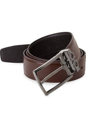 Salvatore Ferragamo Men's Reversible Leather Gunmetal Belt - - Size 42