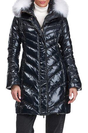 GORSKI Women's Apres-Ski Detchable Fox Fur Hood Trim Puffer Jacket - - Size Medium