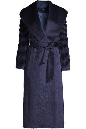 Sentaler Women's Alpaca Shawl Collar Wrap Coat - - Size Medium