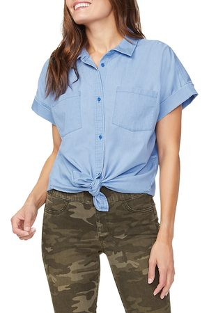 NYDJ Women's Chambray Short-Sleeve Shirt - - Size Large