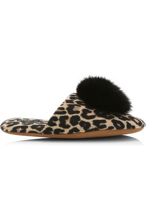 MINNIE ROSE Fox Fur Pom-Pom Leopard Print Cashmere Slippers - - Size Large (9-10)