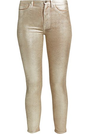 7 for all Mankind Women's High-Rise Metallic Velvet Ankle Skinny Jeans - - Size 32 (12)