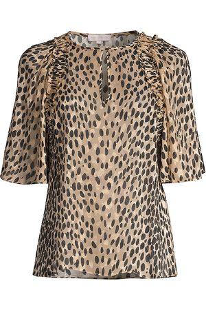 REBECCA TAYLOR Women's Cheetah-Printed Silk-Blend Blouse - - Size Medium