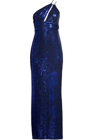 Aidan Mattox Women's Asymmetric Metallic Knit Gown - - Size 14