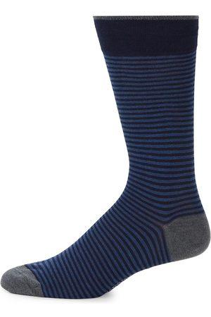 Marcoliani Men's Palio Striped Crew Socks - Royal