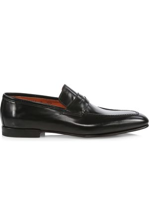 santoni Men's Bologna Leather Penny Loafers - - Size 7.5