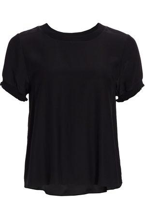 Cinq A Sept Women's Lenny Silk Short-Sleeve Top - - Size XL
