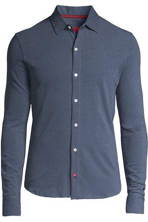 ISAIA Men's Long-Sleeve Piquet Polo Shirt - - Size 44 (17.5)