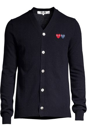 Comme des Garçons Men's Dual Signature Logo Patch Wool Cardigan - - Size Medium