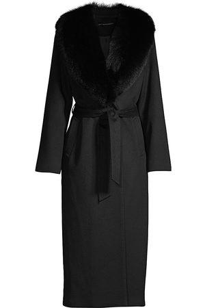 Sofia Cashmere Women's Shawl Fur Collar Wrap Coat - - Size 12