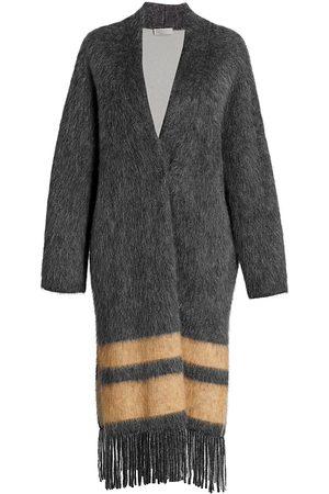 Brunello Cucinelli Women's Long Wool & Mohair-Blend Fringe-Hem Cardigan Coat - - Size XS