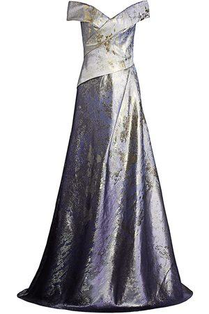 Rene Ruiz Collection Women's Metallic Off-the-Shoulder Gown - - Size 14