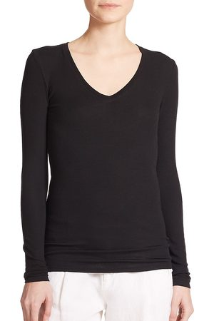 ATM Anthony Thomas Melillo Women's Long-Sleeve V-Neck Tee - - Size Small