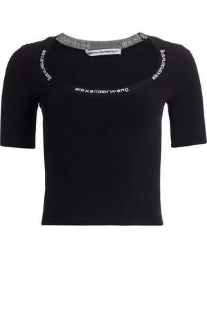 Alexander Wang Women's Jacquard Trim Bodycon T-Shirt - - Size Small