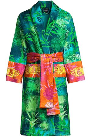 VERSACE Men's Logo Toweling Jungle Print Bathrobe - - Size XL