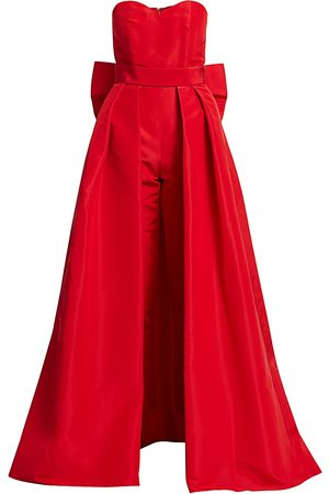 Alexia Maria Women's Silk Faille Bow-Back Jumpsuit with Convertible Skirt - - Size 12