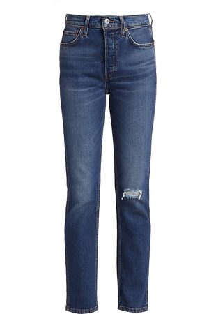 RE/DONE Women's 80s High-Rise Slim Straight Jeans - - Size 31 (10)