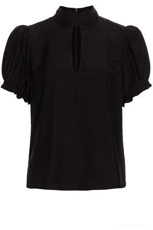 Frame Women's Pleated Puff-Sleeve Silk Mockneck Top - - Size Medium