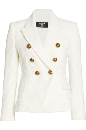 Balmain Women's 6 Button Double Breasted Tweed Jacket - - Size 46 (14)