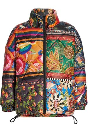 Farm Rio Women's Mixed Scarves Reversible Puffer Jacket - - Size Small