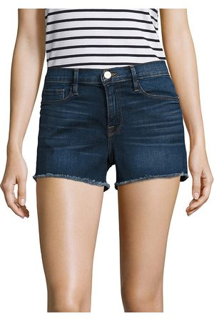Frame Women's Le Cut Off Mid-Rise Fitted Raw Hem Denim Shorts - - Size 32 (10-12)