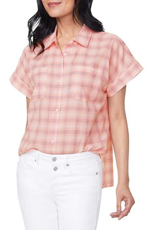NYDJ Women's Plaid Short-Sleeve Shirt - - Size Small