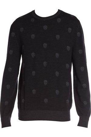 Alexander McQueen Men Tops - Men's Allover Skull Wool Sweater - Charcoal - Size Large
