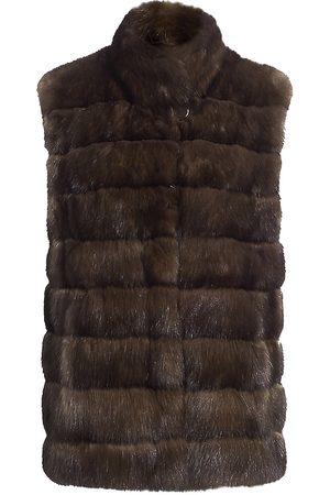 The Fur Salon Women's Sable Fur Stand Collar Vest - - Size Large