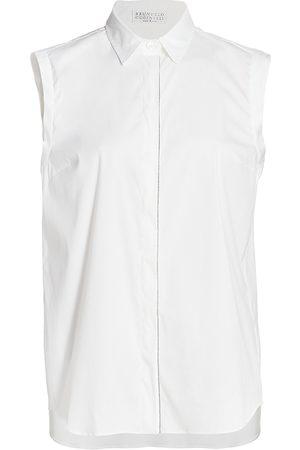 Brunello Cucinelli Women's Sleeveless Cotton Poplin Blouse - - Size XXS