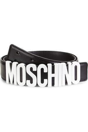 Moschino Men's Matte Logo Leather Belt - - Size 56 (40)