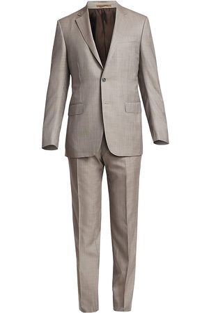 Ermenegildo Zegna Men's Solid Wool & Silk Mulberry Single-Breasted Suit - - Size 56 (46) R