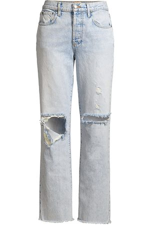 Alice + Olivia Jeans Women's Amazing High-Rise Distressed Boyfriend Jeans - - Size 30 (8)