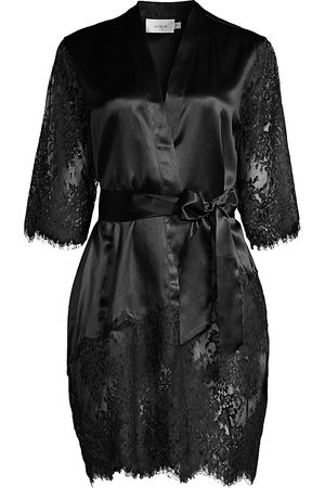 GINIA Women's Blaise Silk Lace Robe - - Size Medium