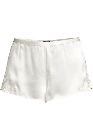 Natori Women's Lace-Trimmed Silk Shorts - - Size Medium