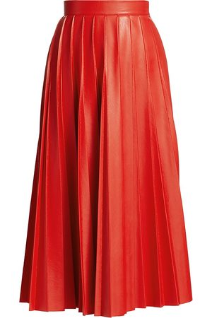 Msgm Women's Coated Pleated Midi Skirt - - Size 42 (8)