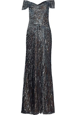 Rene Ruiz Collection Women's Off-the-Shoulder Beaded Gown - - Size 8