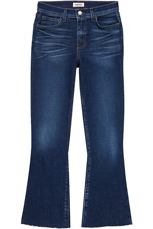 L'Agence Women's Kendra High-Rise Cropped Flare Jeans - - Size 32 (12)